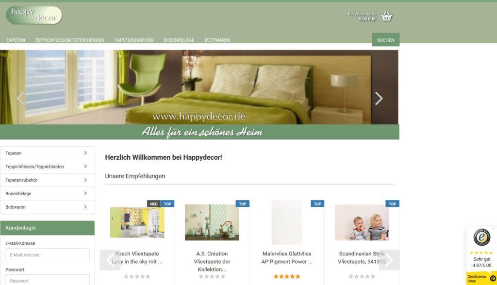 www.Happydecor.de ist ein seriöser Online-Shop für Tapeten deutscher Hersteller sowie für Bodenbeläge wie Linoleum oder PVC